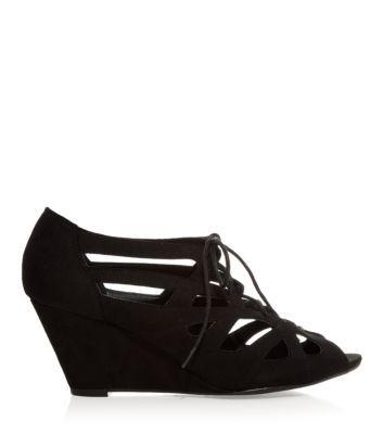 Black Lattice Lace Up Wedge Sandals