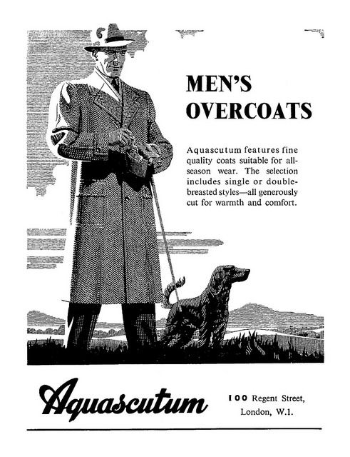 1947 ad for Aquascutum men's overcoats.