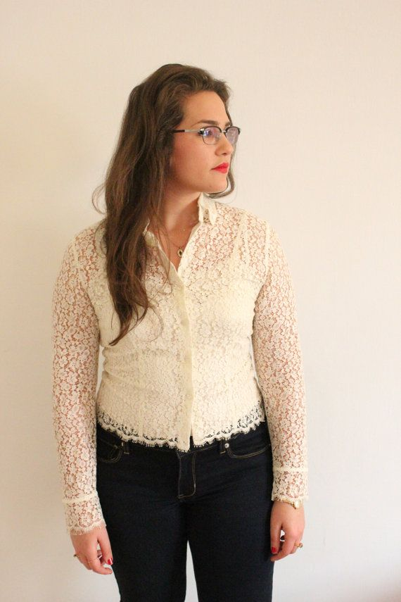 Ann Taylor Cream White Sheer Lace Button Up by ClementinesBoutique, $25.00