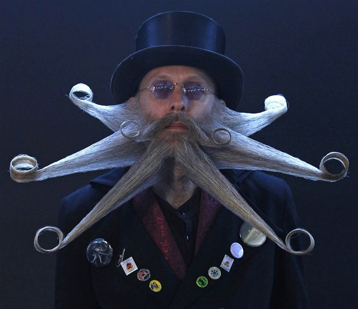 Freestyle beard champion Aarne Bielefeldt at the Beard World Championships in Germany this year. Bielefeldt used to compete in the full beard category but recently switched to freestyle, which makes it all the more impressive that he defeated the German freestyle masters in their own country.
