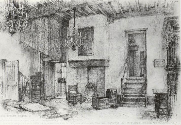 Jan van Riebeeckhuis, Culemborg, Nederland. Interieur, De Sael (tekening).