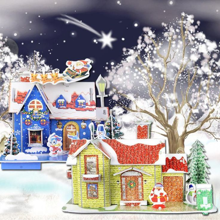 Merry Christmas DIY Puzzle Money Box New Year Cartoon House Decorations For Home Noel Xmas Gifts To Children