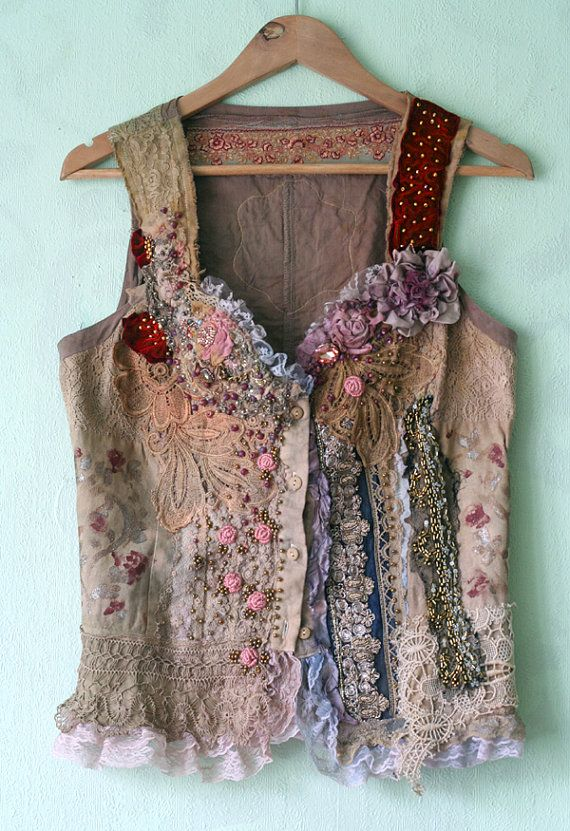Lucinda-unique bodice, wearable art, textile collage with antique lace, sequins, beading, altered bodice
