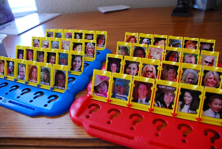 "Personalized ""Guess Who"" game. Change pics out w/ family members"