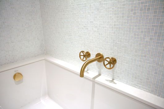 #watermark brass fixtures with white/ice blue