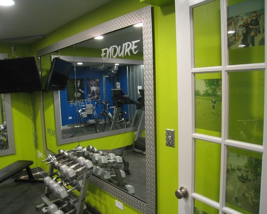 Home Gym Wall Color Green Home Workout Room. Love the framed mirrors on the walls and fun, vibrant wall color.  Home Gym Interior  Pinterest  Home Workouts, Framed Mirrors and ...