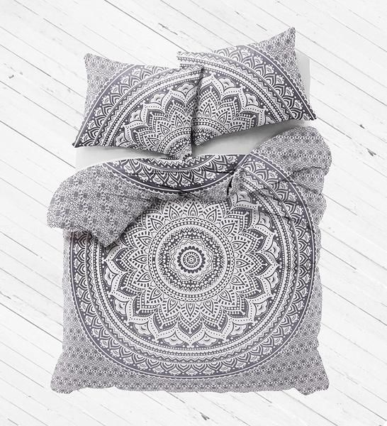 Buy Gray Ombre Mandala Bedding Set Large Duvet Cover with Pillows on discounted price. Free shipping world wide in USA, UK, Australia and more.