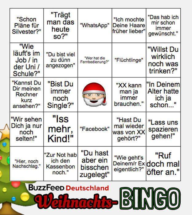 Damit die Feiertage ein kleines bisschen erträglicher sind, hier das große BuzzFeed Deutschland Weihnachts-Bingo!
