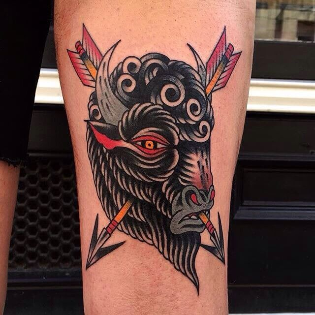 112 best images about tattoos on pinterest for Traditional bison tattoo