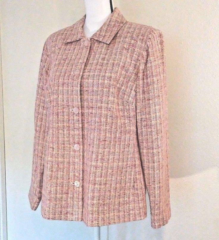 Appleseed's Womens Blazer Size 16 Pink Tweed Silk Blend Spring Plus Size Suit | Clothing, Shoes & Accessories, Women's Clothing, Suits & Blazers | eBay!