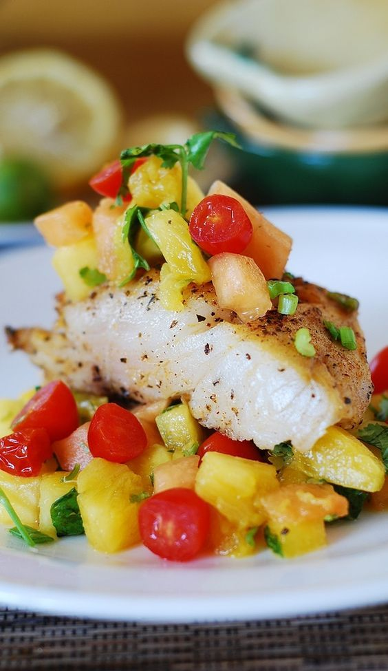 White fish with salsa (black cod with tropical fruit) | Gluten free, low calorie.  You can apply the same cooking process to almost any other type of fish!