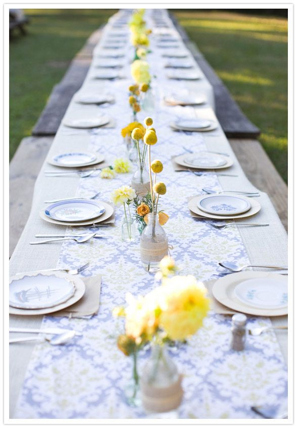 gray, muted blue and lemony yellow.: Yellow Flowers, Outdoor Wedding, Tables Sets, Picnics Tables, Wedding Reception, Tables Runners, Long Tables, Tables Decor, Grey Table