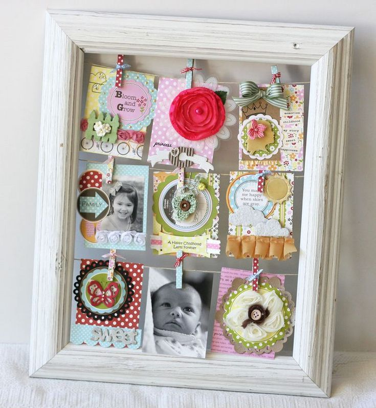cute display of pictures or cards