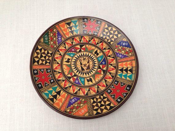 Pisac Cusco Peru vintage decorative hand painted red by GreenVi
