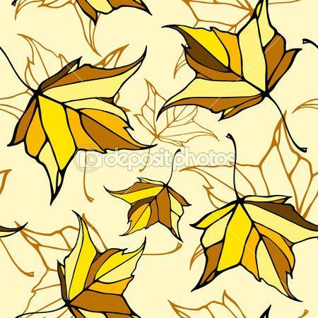 Бесшовный фон с стилизованные падающие листья — стоковая иллюстрация #50383275