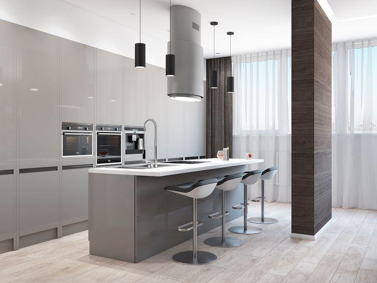 Хороший способ отделить кухню от гостиной - колонная в виде перегородки.