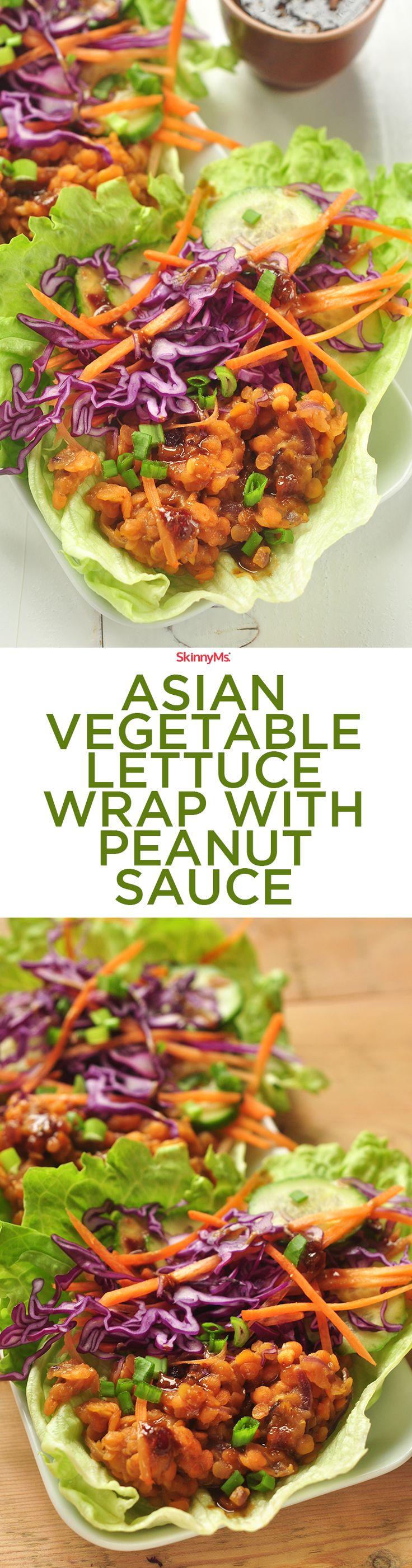 Asian Vegetable Lettuce Wrap with Peanut Sauce! :)