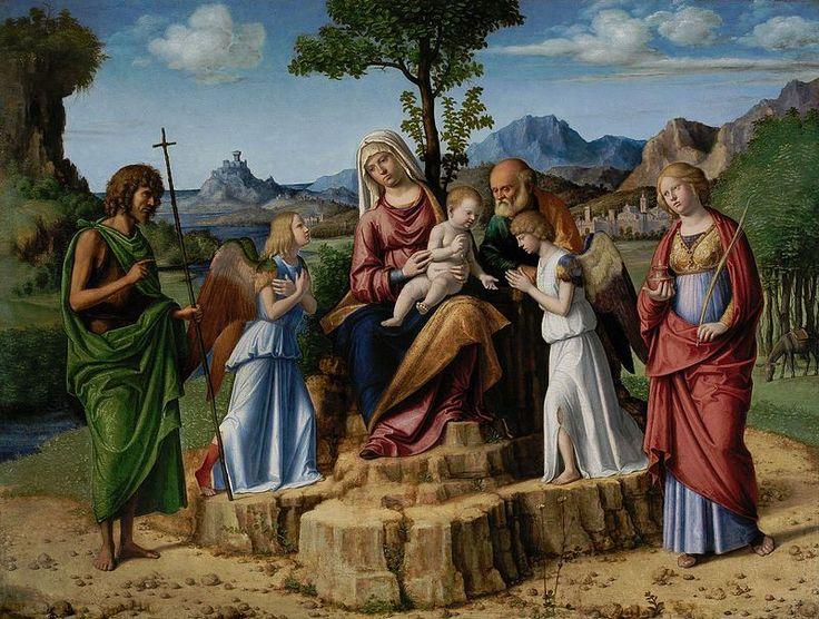 Cima da Conegliano - Riposo durante la fuga in Egitto con i santi Giovanni Battista e Lucia Lisbona Calouste Gulbenkian - Cima da Conegliano — Wikipédia