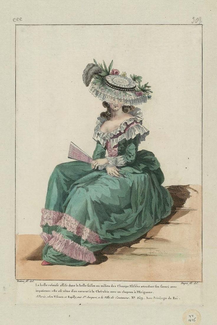 La belle réveuse assise dans la belle saison au milieu des Champs Elisées attendant son favori avec impatience: elle est vêtue d'un caracot à la Chérubin avec un chapeau à l'Erigonne. 1786