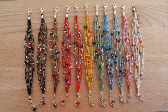 Multistrand Bohemian Bracelets Crystal Leather by monroejewelry