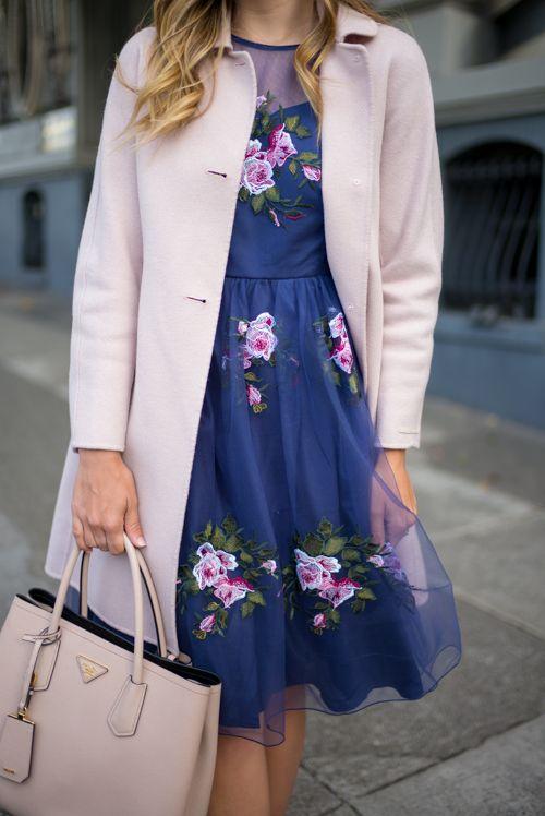 Rose Print ChicWish Dress with Max Mara Coat and Prada Bag