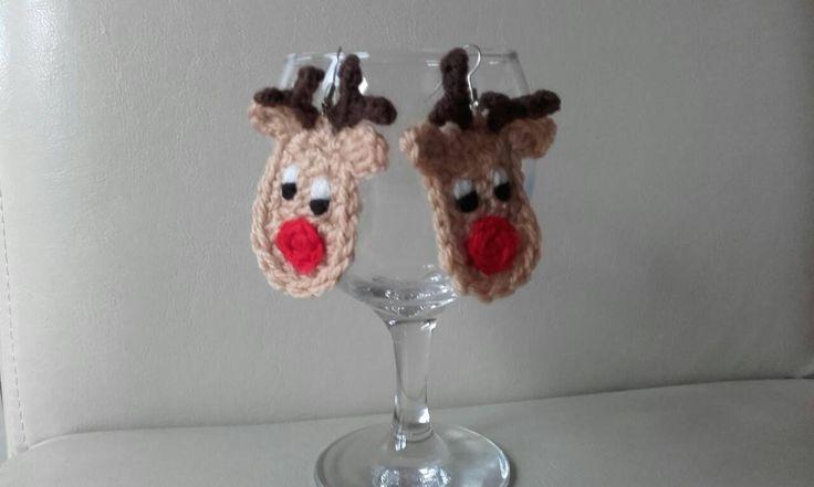 crochet  earrings, Rudolf earrings, Christmas earrings, fun earrings,  Crochet Rudolf by crochetfifi on Etsy