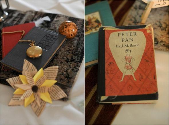 books and literature wedding decor - flowers