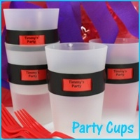 Personalized Party Cups - Color coded cups that can be personalized for your kids party.  Its a great low cost take home gift.