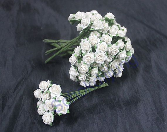 100 pcs. White Color Mulberry Paper Roses Flower handmade size 1 cm.(10 mm.) scrapbooking , Wedding