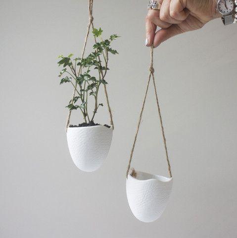 hanging White Ceramic Planters