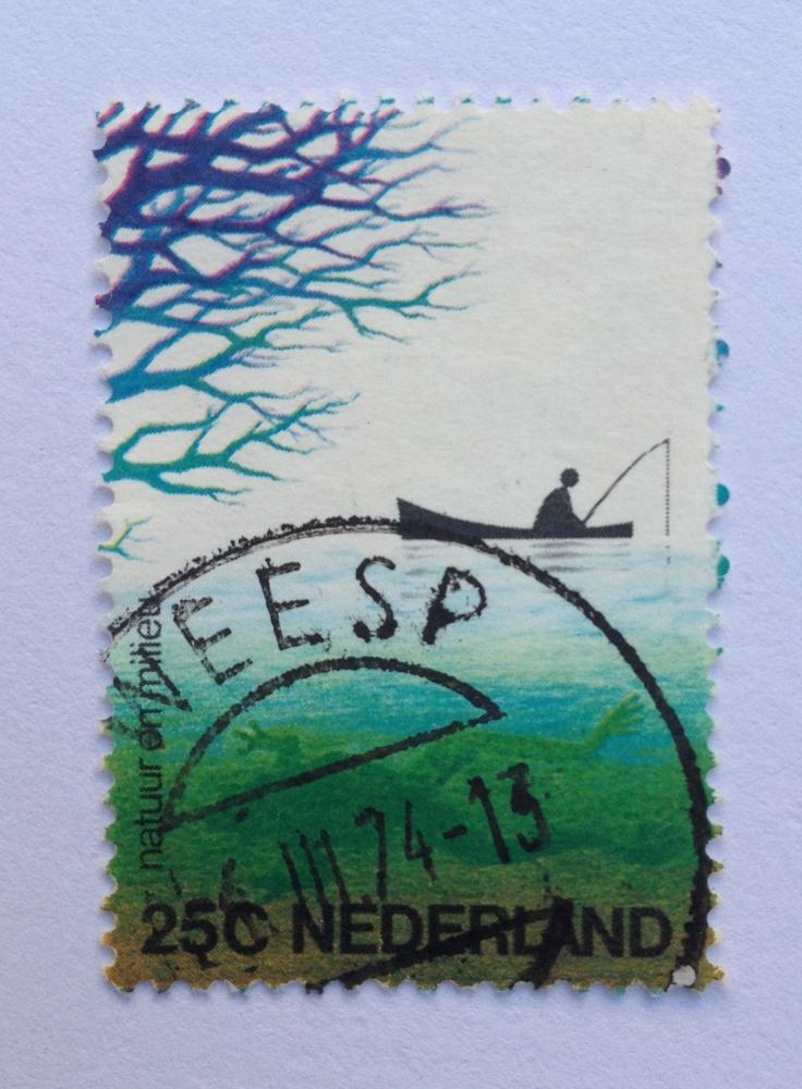 1974 | Otto Treumann | blauw, groen, zwart | roeiboot, tak