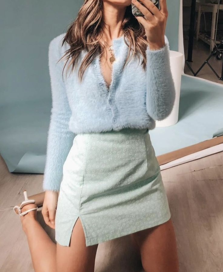 fuzzy cardigan & front slit mini skirt