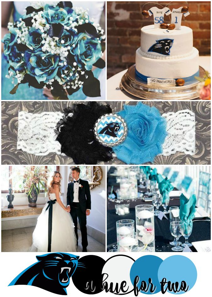 tiffany blue and black wedding decorations%0A Carolina Panthers Super Bowl    Wedding Color Scheme  Black White and Turquoise  Wedding  Football