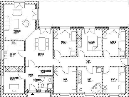 Dieser Bungalow Grundriss mit 150 m² bietet 3 Kinderzimmer