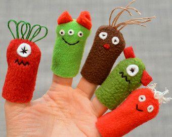 Fingerpuppen MonsterParty Favors einzelne von chasingmystar auf Etsy