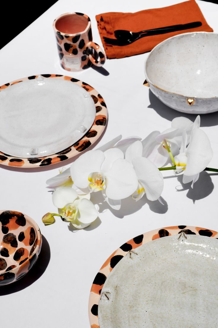 Express Your Wild Style The Limited Edition Handmade Ceramics Leopard Collection Is Only Here Until July 31s Gold Dinnerware Handmade Ceramics Slab Ceramics
