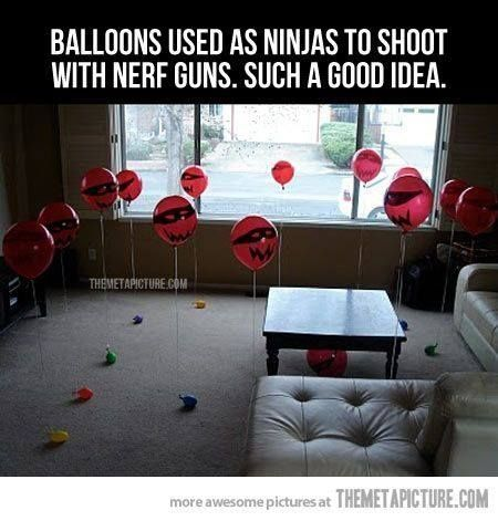 Balloon targets for nerf guns....super hero party game?