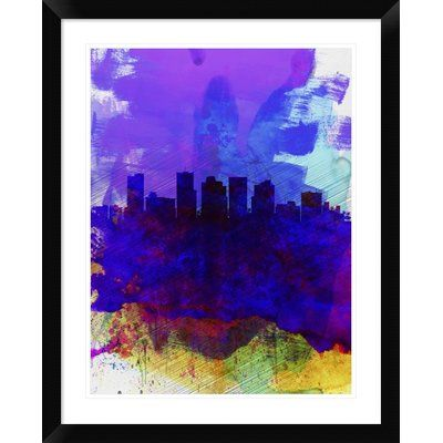 "Naxart 'Phoenix Skyline 1' Framed Watercolor Painting Print Size: 30"" H x 24"" W x 1.5"" D"