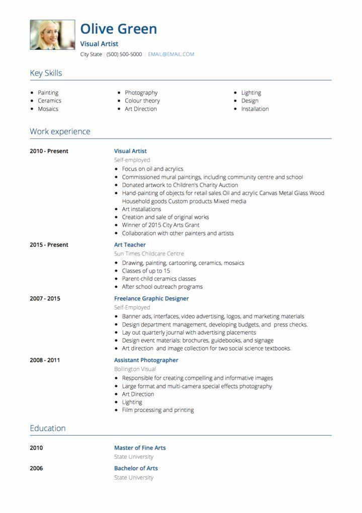 Fine artist resume template best of artist cv examples and