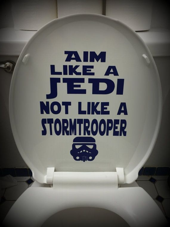 A great decal for your Star Wars Themed bathroom! Made of vinyl adhesive in blue or silver. Stands up to the most rugged of boys. Comes on a
