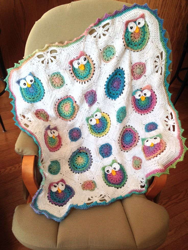 Owl Obsession baby blanket, for crochet. I used Red Heart ...