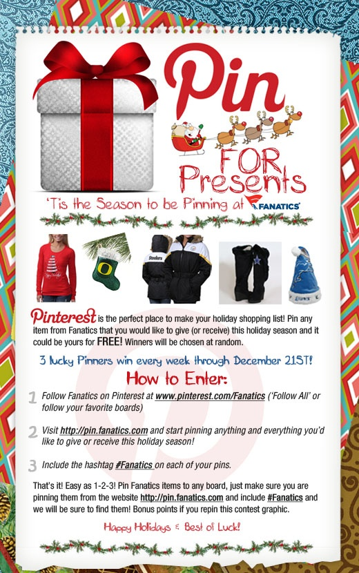It's never too early to start your Holiday shopping (and pinning)! We're giving away 3 presents every week through December 21! #Fanatics #PinForPresents Terms & Conditions: http://fanaticssweeps.com/pin_for_presents  #Fanatics