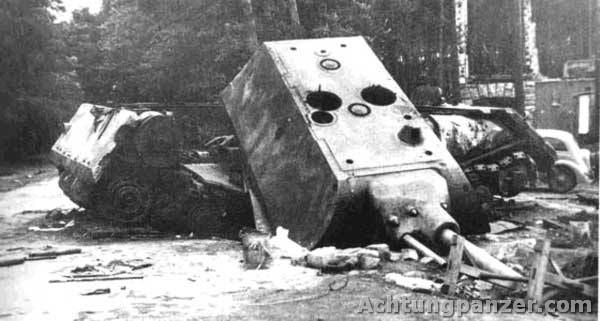 4 Panzerkampfwagen VIII Maus destroyed by the Germans to keep it out of Soviet hands.
