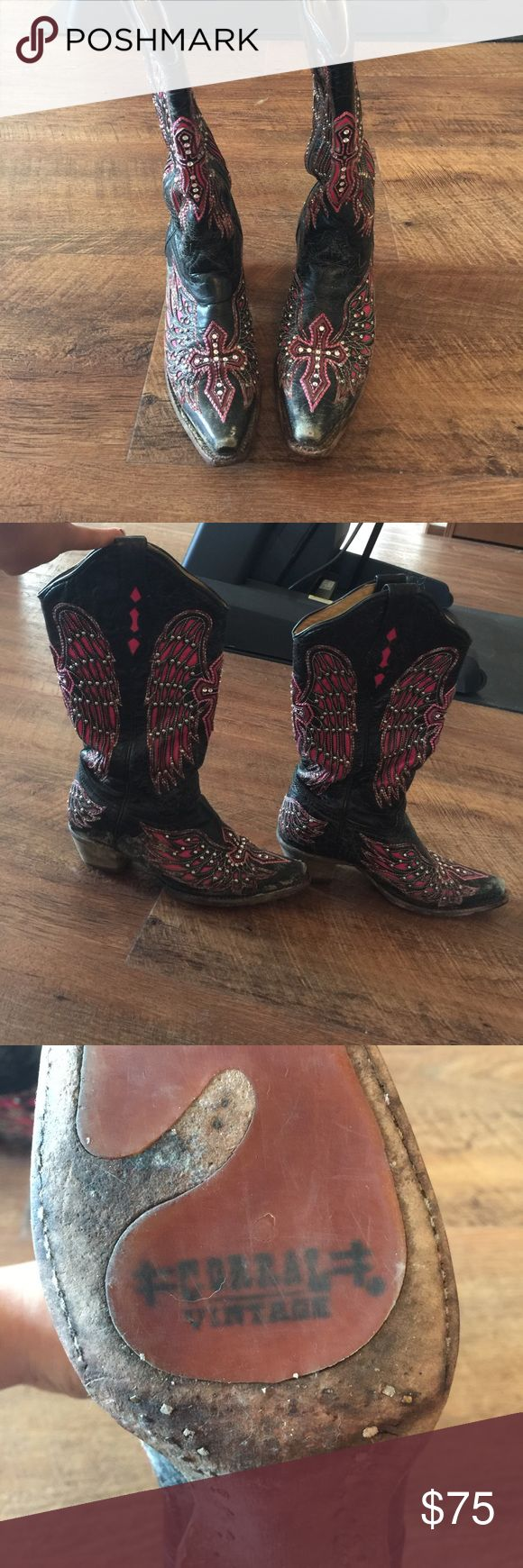 Corral vintage boots Black and pink corral boots. Worn, seen in pictures. Make an offer! Corral Vintage Shoes