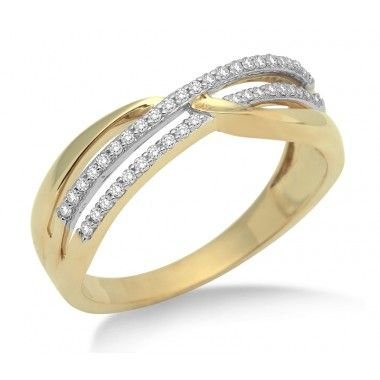 9ct Yellow Gold 0.20ct Diamond Crossover Ring