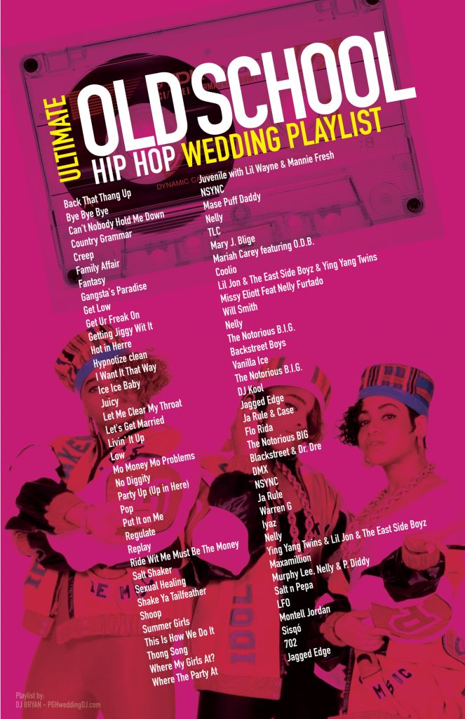 Ultimate Old School Hip Hop Wedding Playlist most requested songs. 90's 2000's music