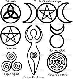Satz der Wicca-Symbole: Triqueta oder keltische Knoten, Symbol der dreifachen Göttin, Pentagramm, Spiral-Göttin, Gehörnter Gott, dreifache Spirale der Göttin und Hecates Kreis
