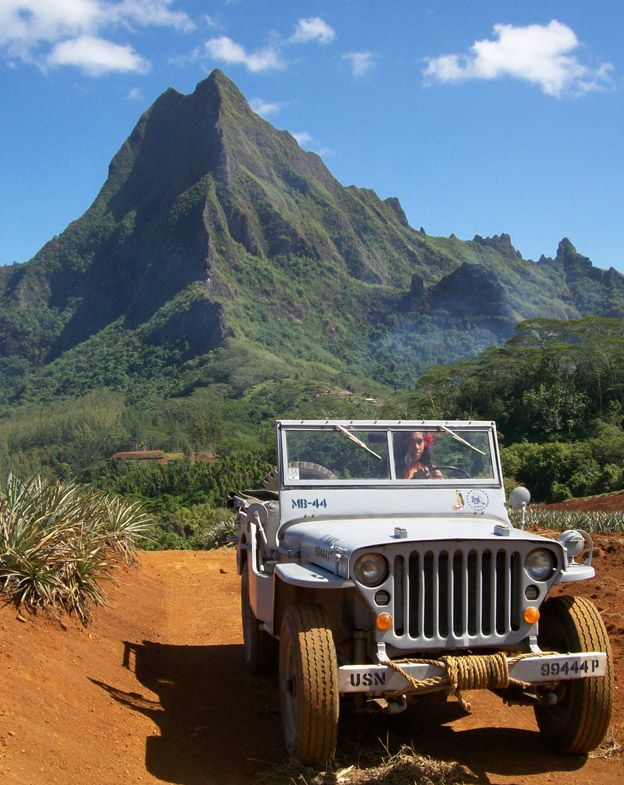 Restored Willys MB Navy Jeep (1944) on the Island of Moorea, Tahiti