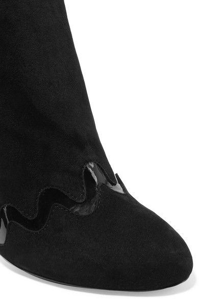 Alaïa - Patent Leather-trimmed Suede Ankle Boots - Black - IT39
