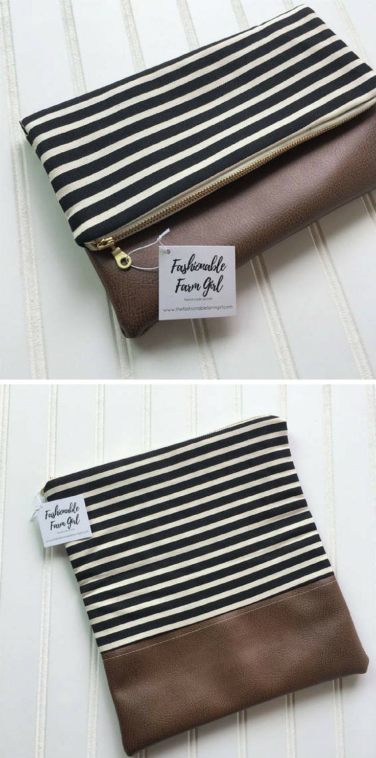 Pretty black and white striped foldover clutch with brown vegan leather bottom. This is my perfect bag. #commissionlink #foldoverbag #clucth #purse #striped #brown #blackandwhite #veganleather